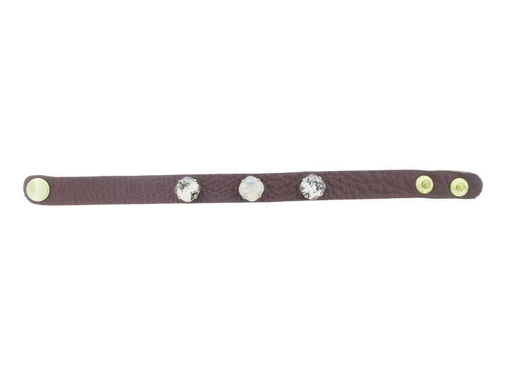 The Branded Leather Line - Classic Leather Bracelet With Three 10mm Square Cushion Cut Riveted Empty Settings Made In The USA