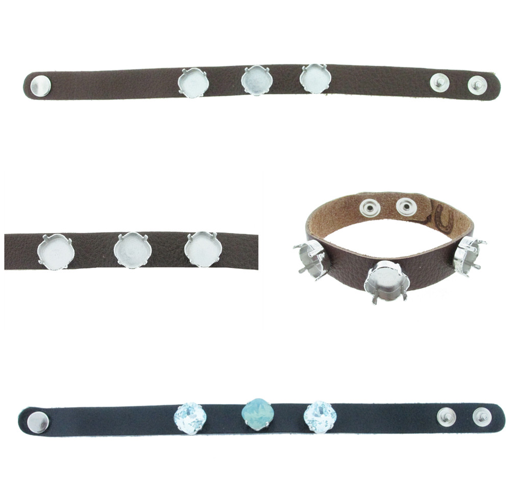 The Branded Leather Line - Classic Leather Bracelet With Three 12mm Square Cushion Cut Riveted Empty Settings
