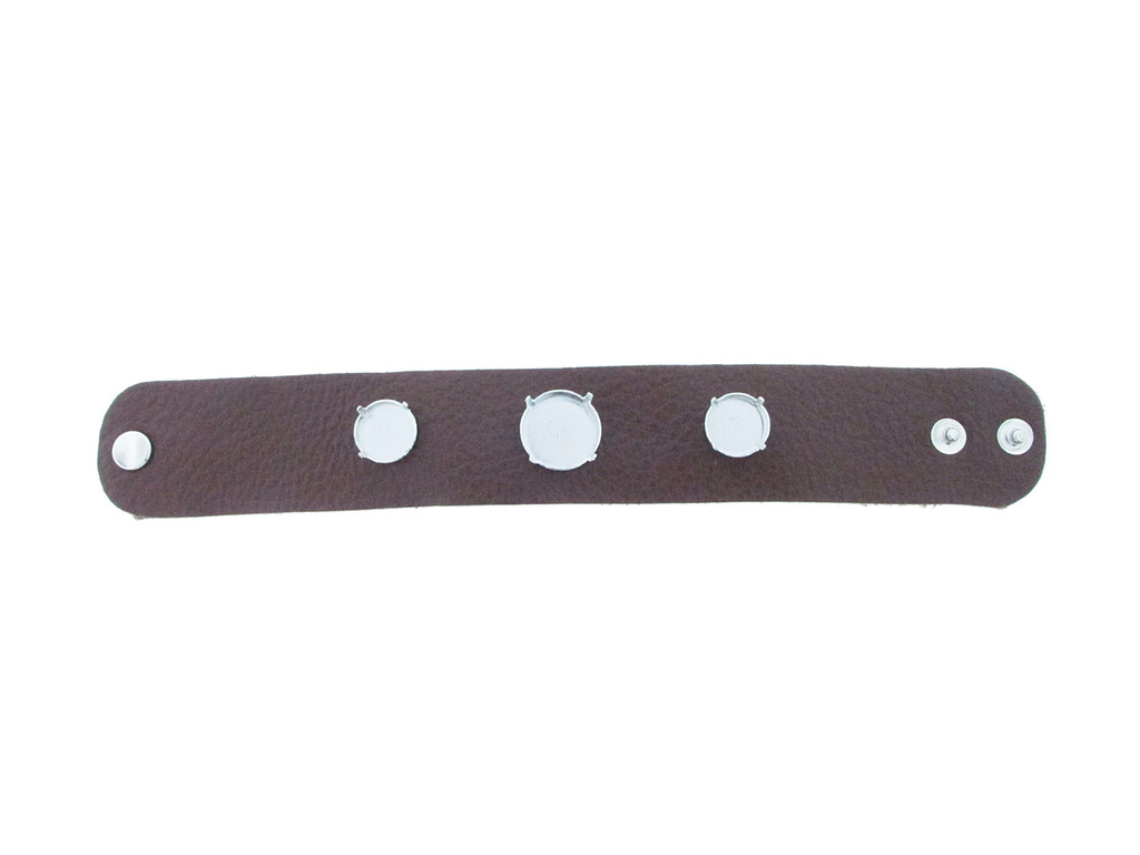 The Branded Leather Line - Wide Leather Bracelet With One 18mm Rivoli Round & Two 14mm Rivoli Round Riveted Empty Settings Made In The USA