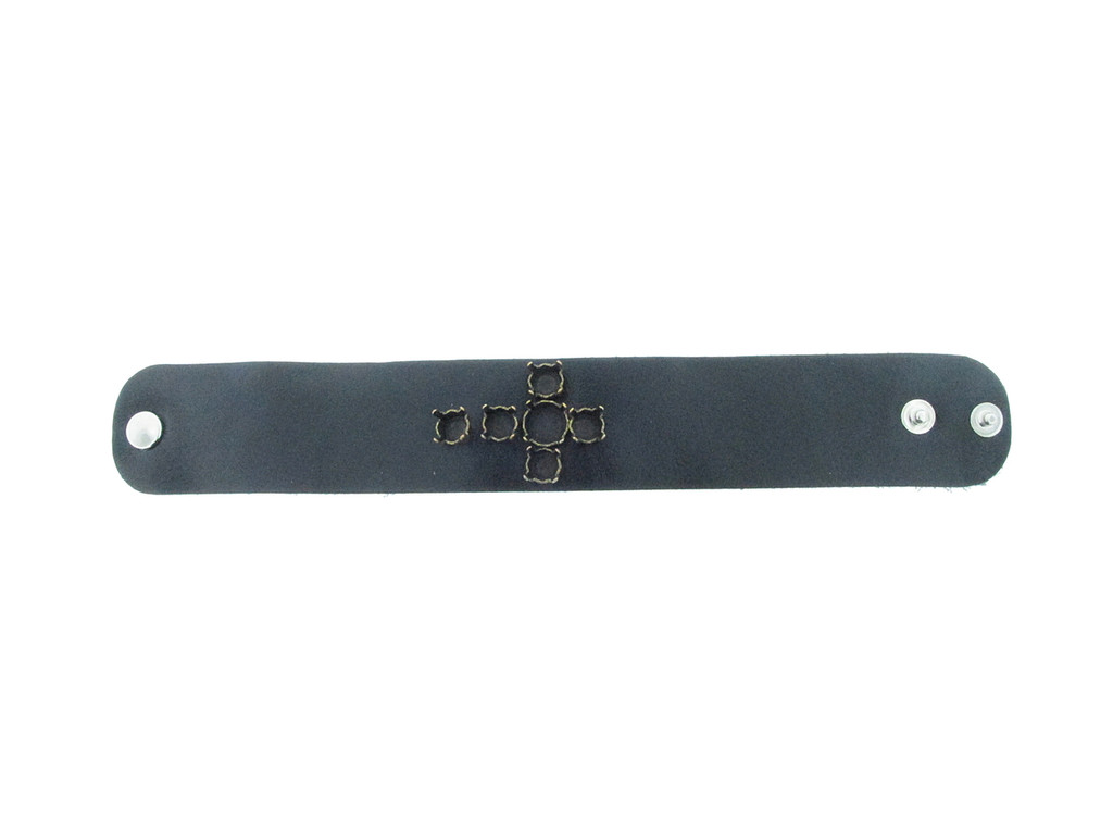 The Branded Leather Line - Wide Leather Bracelet With Cross Design - One 11mm & Five 8.5mm (39ss) Riveted Empty Settings Made In The USA