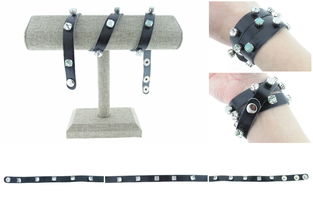 The Branded Leather Line - Wrap Leather Bracelet With Fifteen 8.5mm (39ss) Riveted Empty Settings Made In The USA