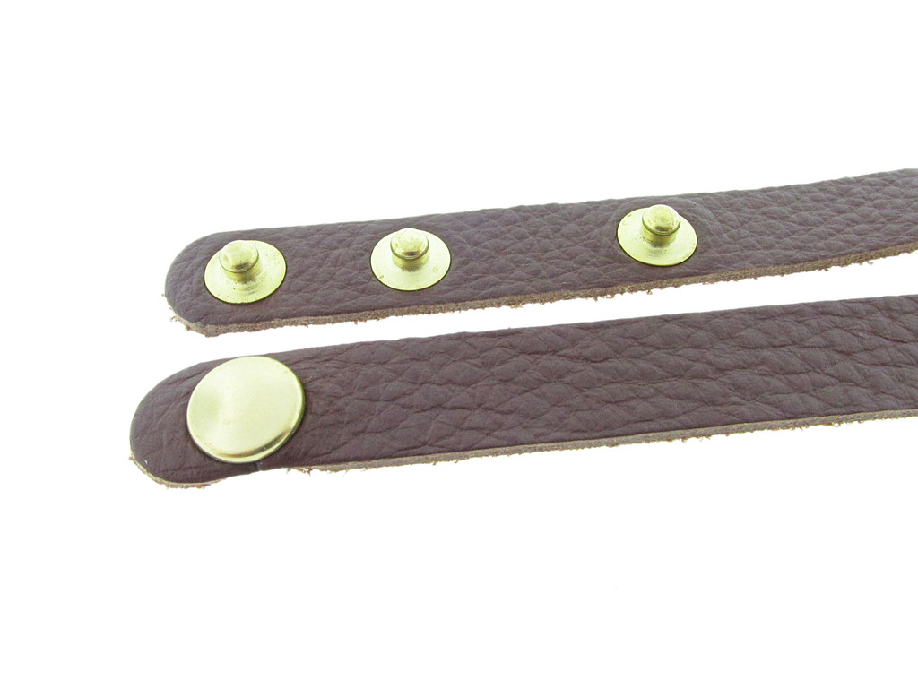 Chestnut Wrap Leather with Brass Snaps