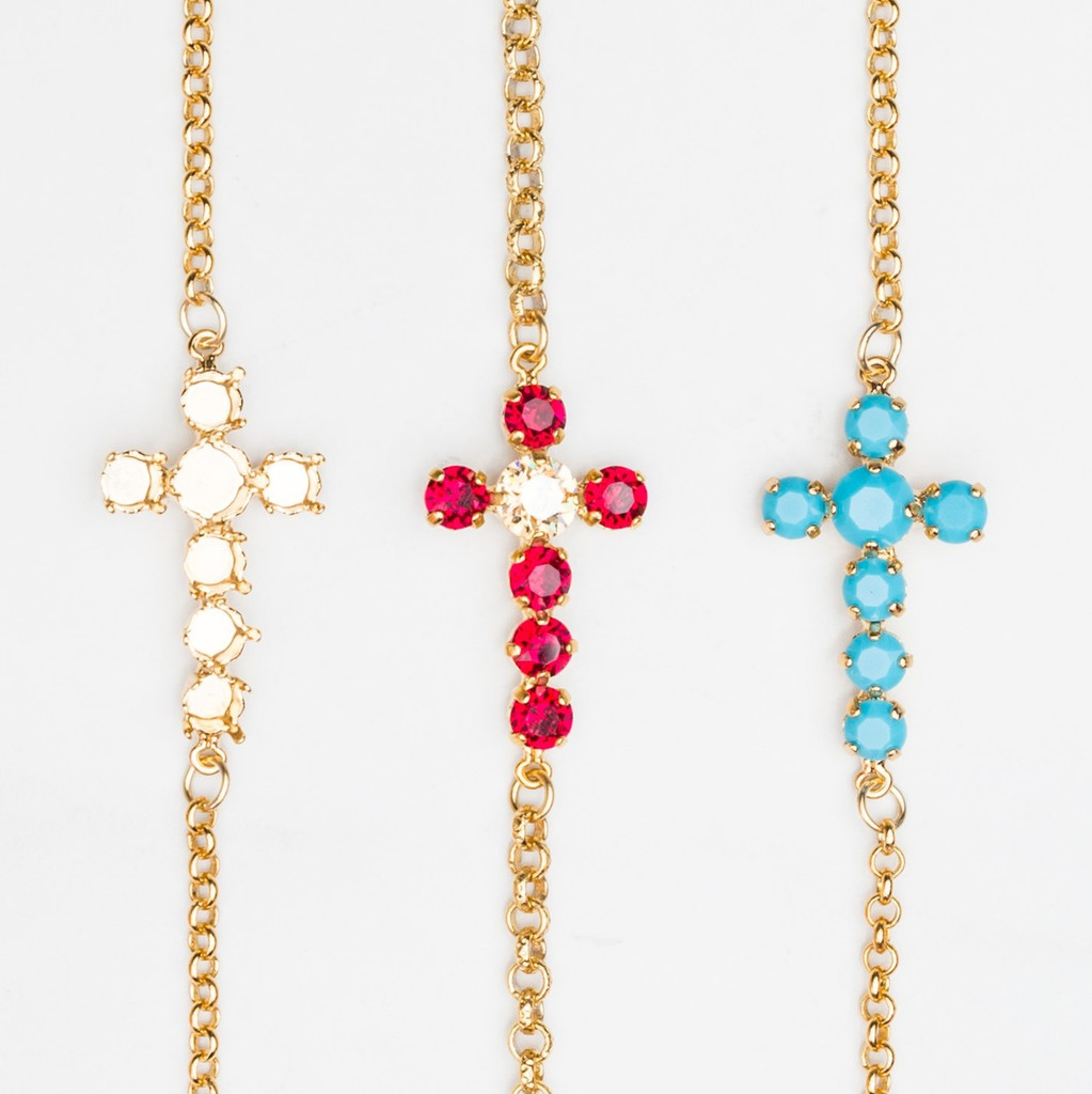 6mm & 8.5mm | Off Center Cross Necklace | Three Pieces