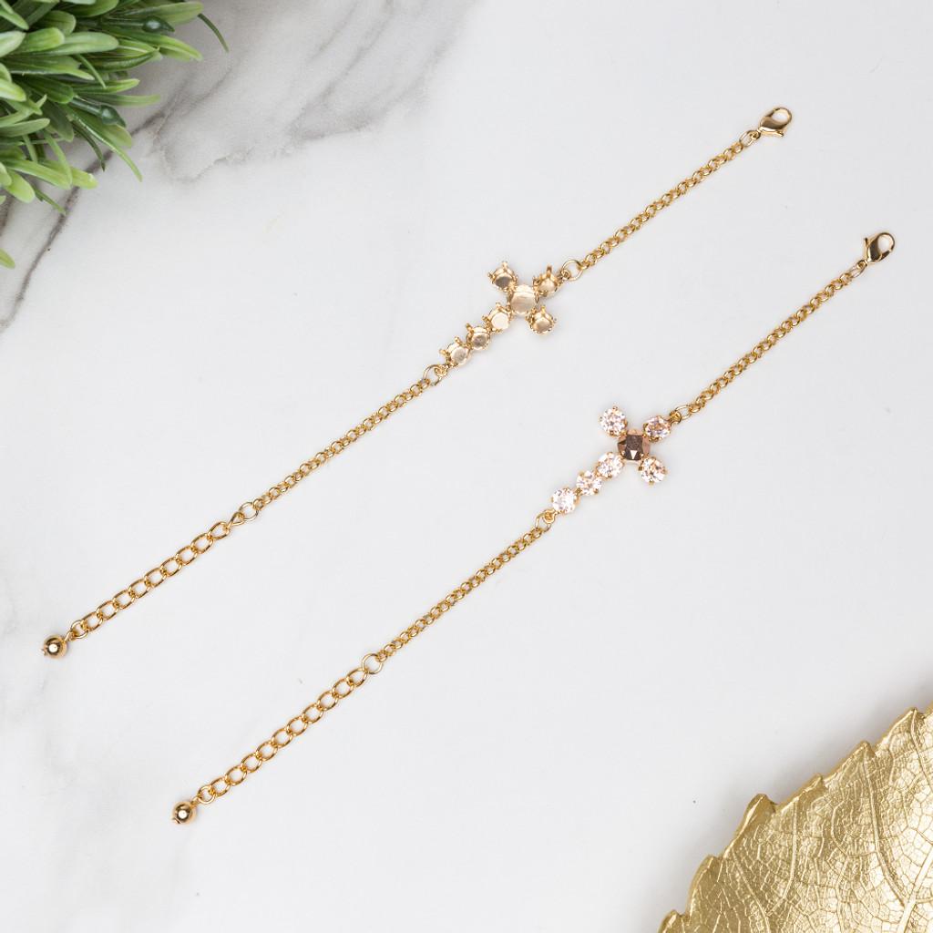 Cross Bracelets shown in gold overlay