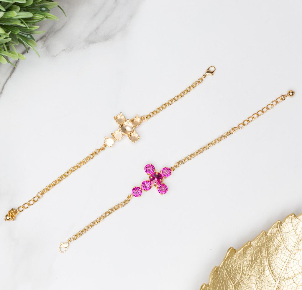 8.5mm (39ss) & 11mm Cross Empty Bracelet shown in Gold overlay