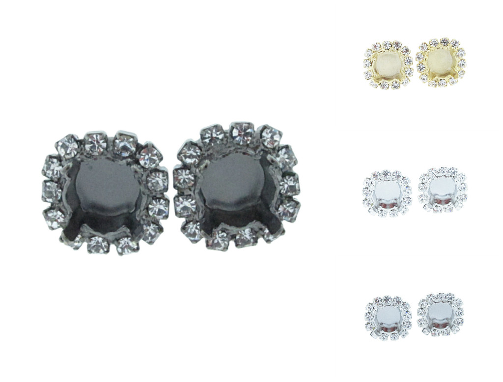 8.5mm Crystal Halo Stud Earrings different finishes