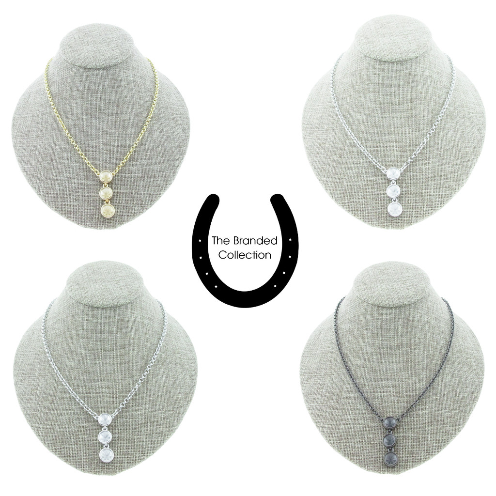 The Branded Collection - 8.5mm (39ss) Chaton Casted Three Station Drop Necklace
