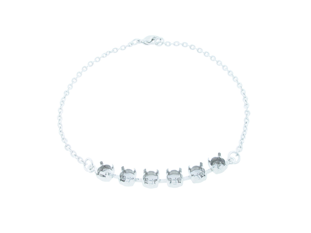 6mm (29ss) Six Box Empty Anklet Rhodium