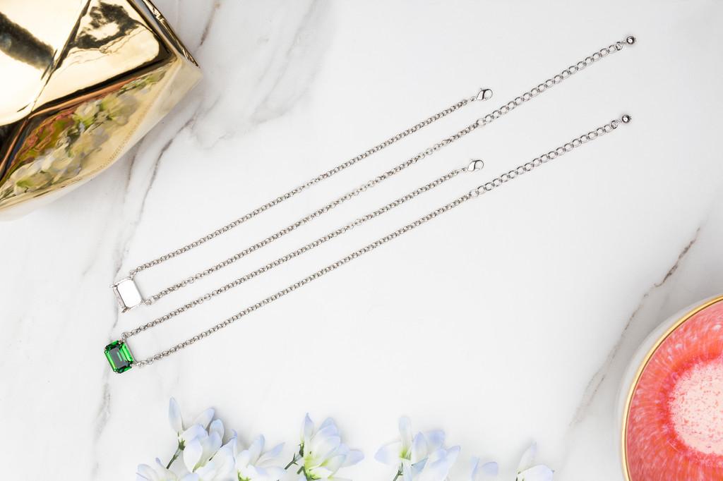 18mm x 13mm Octagon | Sideways Pendant Necklace | One Piece