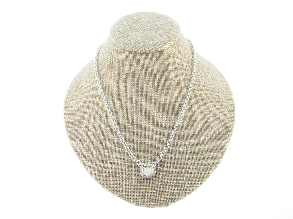 8.5mm (39ss) Single Pendant With Crystal Rhinestones Empty Necklace Small Smooth Rolo Chain
