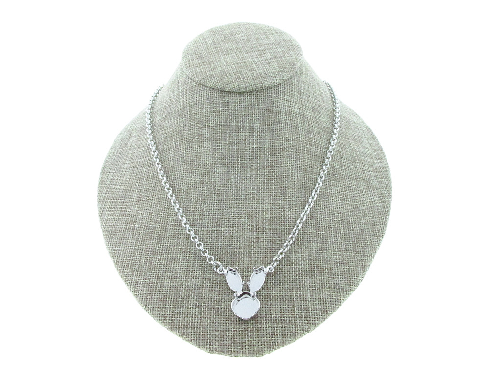 12mm Square Cushion Cut and 15mm x 7mm Navette Bunny Rabbit Necklace Rhodium Small Smooth Rolo Chain