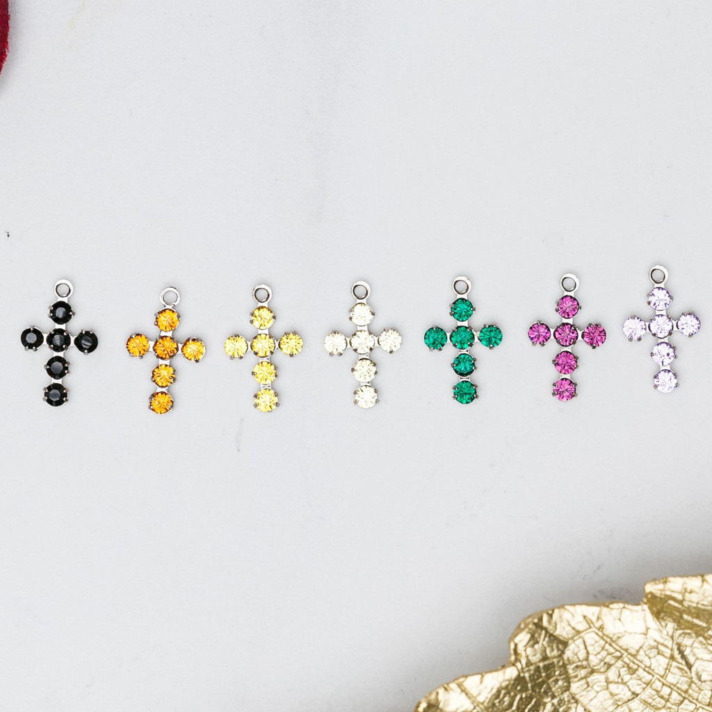 Cross Charms Made With Swarovski Crystals | 12 Pieces