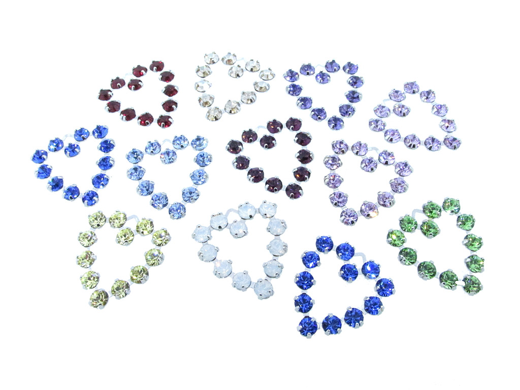 Heart Charms Made With Swarovski Crystals Mixed Assortment Rhodium