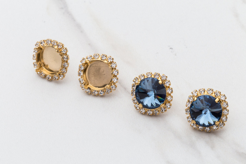 12mm Round Crystal Halo Stud Earring