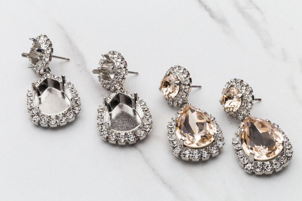 8.5mm & 18mm x 13mm Pear Crystal Halo Stud Earrings