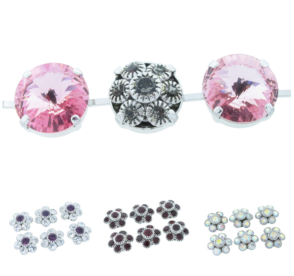 Austrian Crystal Flower Clusters Fits 14mm Rivoli Round Empty Cup Chain