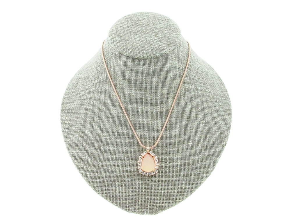 18mm x 13mm Pear With Crystal Rhinestones Empty Slider Pendant With Snake Chain In Rose Gold
