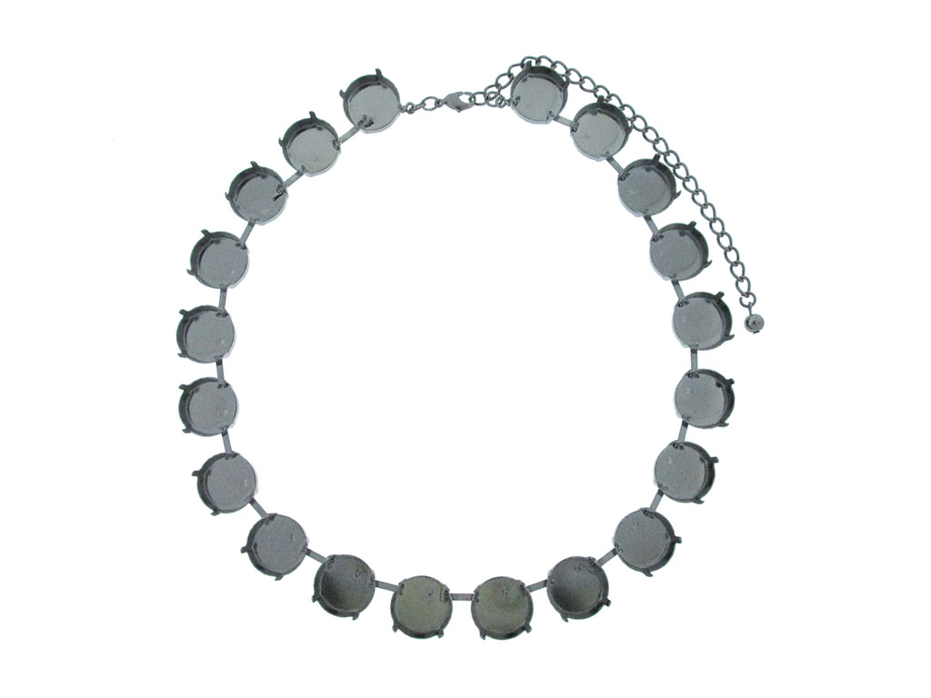 18mm Rivoli Round 20 Box Empty Necklace in Hematite