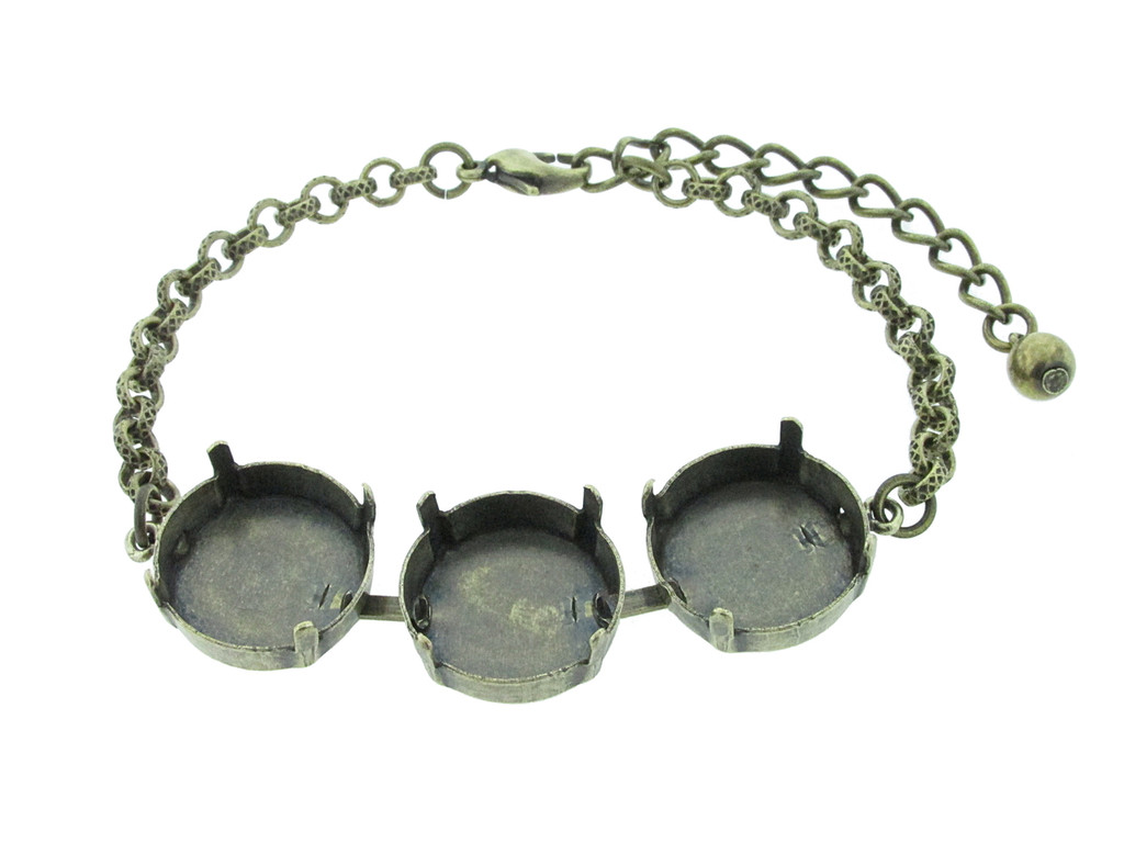 18mm Rivoli Round 3 Box Empty Bracelet in Brass Ox