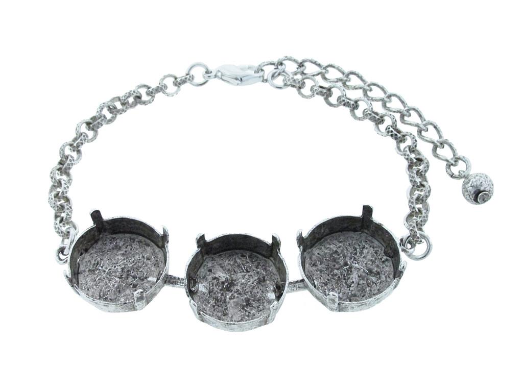 18mm Rivoli Round 3 Box Empty Bracelet in Silver Ox