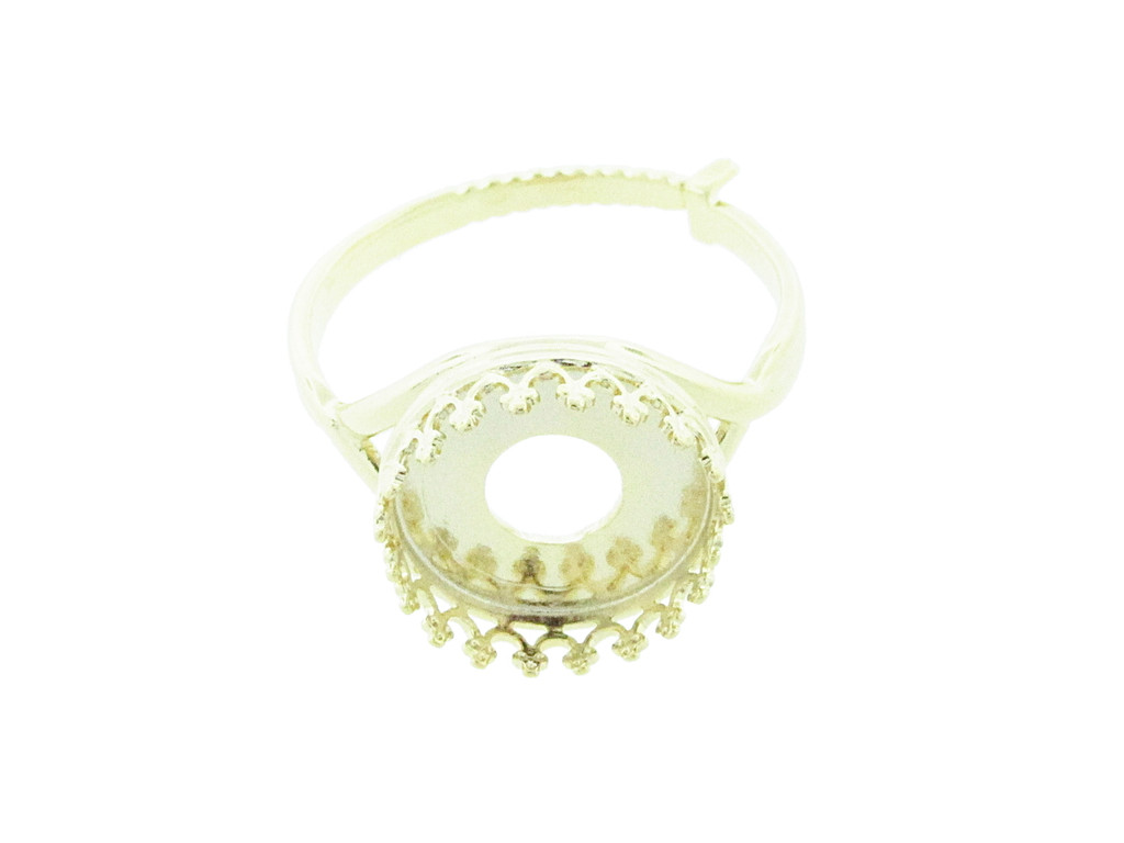 12mm Rivoli Round Crown Open Back Adjustable Ring In Gold Overlay