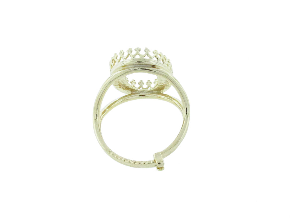 18mm x 13mm Oval Crown Open Back Adjustable Ring In Gold Overlay