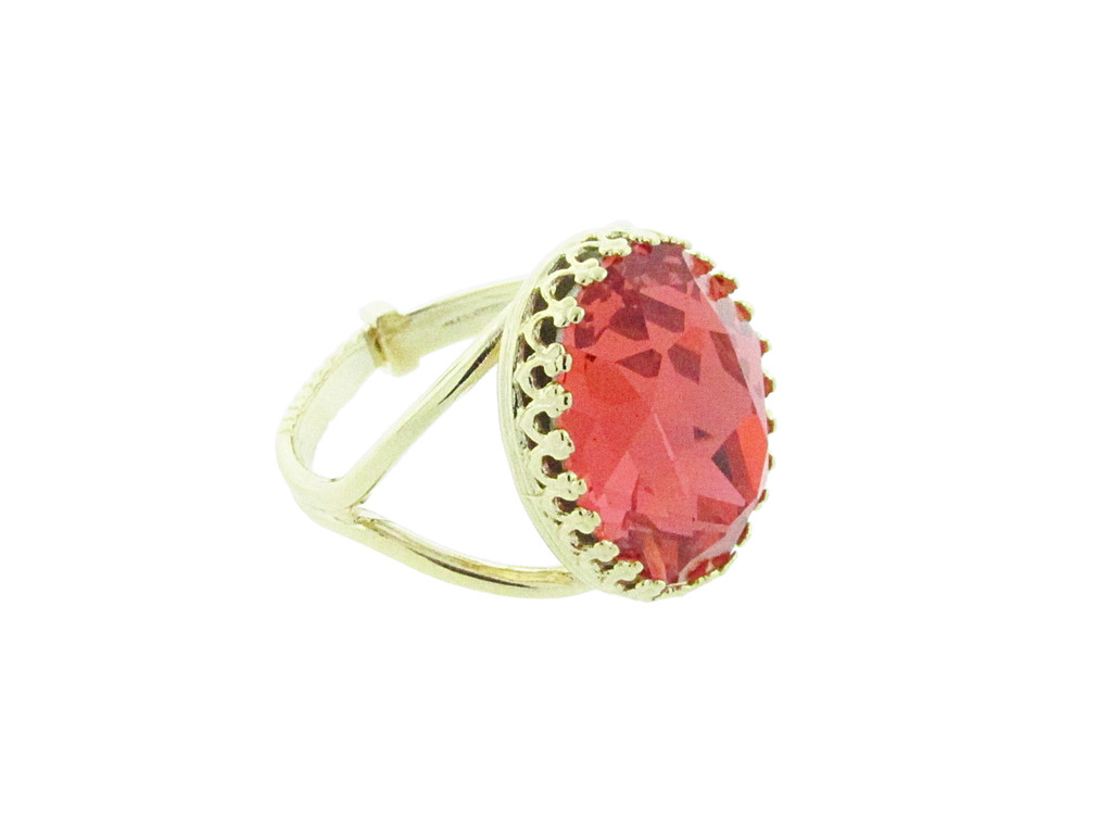 18mm x 13mm Oval Crown Open Back Adjustable Ring In Gold Overlay With Padparadscha