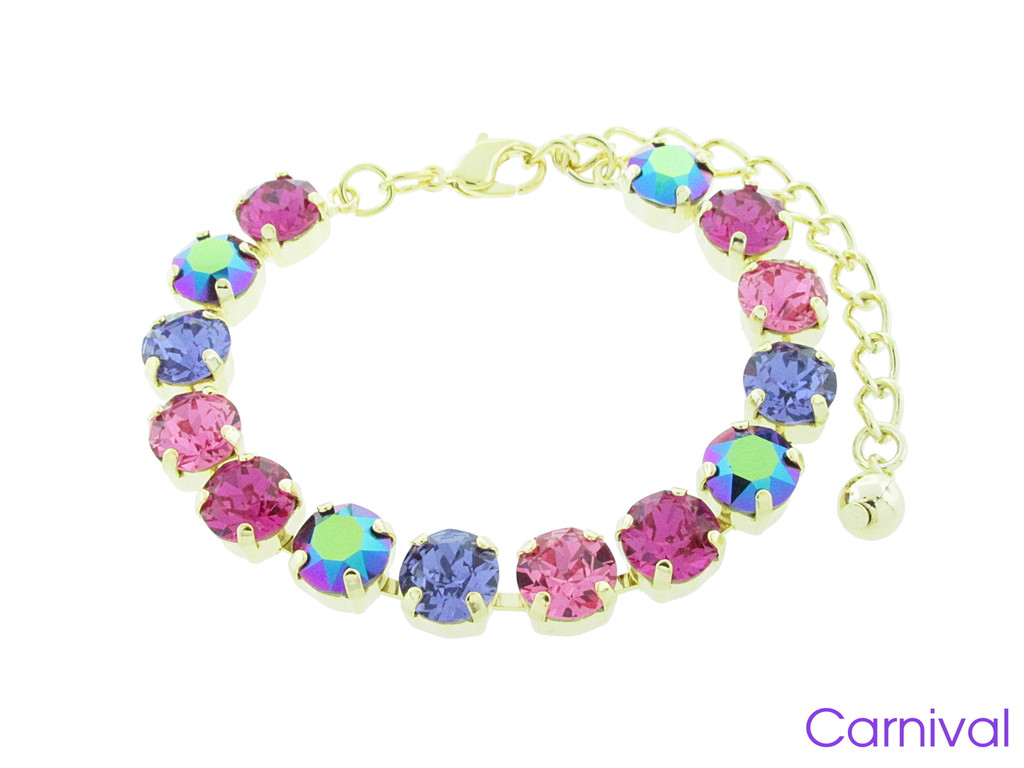 Carnival color collection shown on the 8.5mm 14 box bracelet in gold overlay