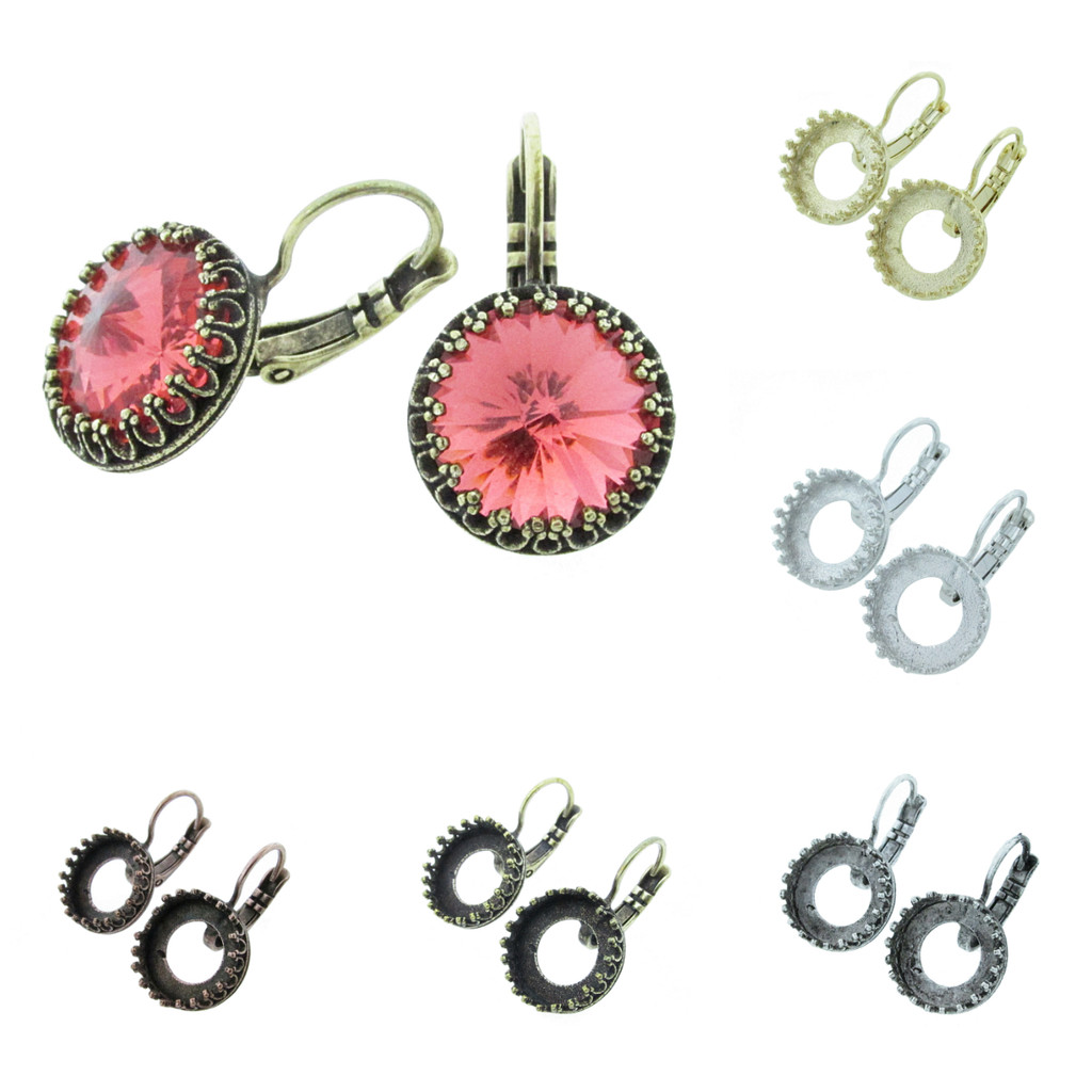 12mm Round Crown Drop Earring in the different finishes