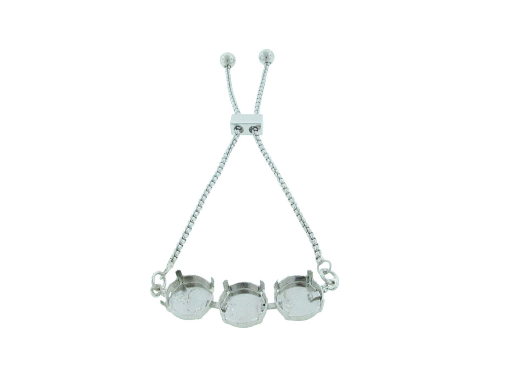 12mm Round | Three Setting Adjustable Slider Bracelet | One Piece