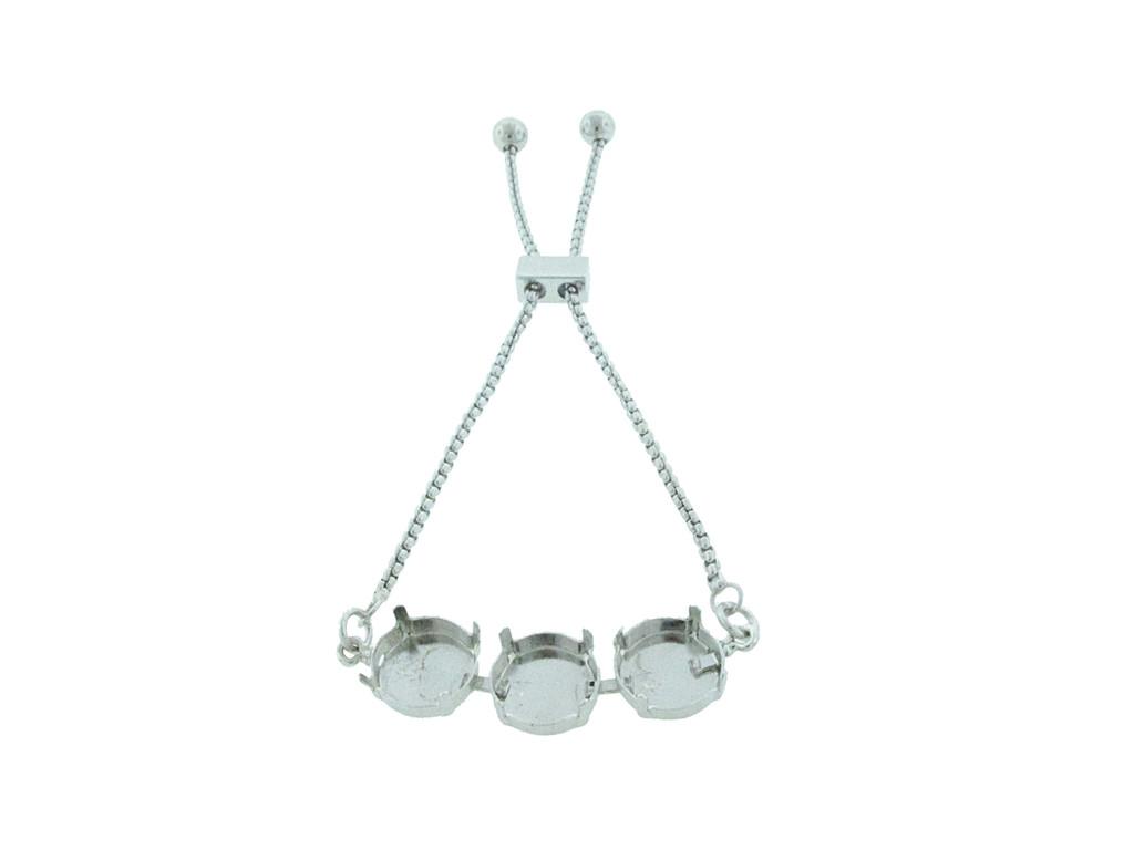 Three Setting Adjustable Slider Bracelet, in rhodium