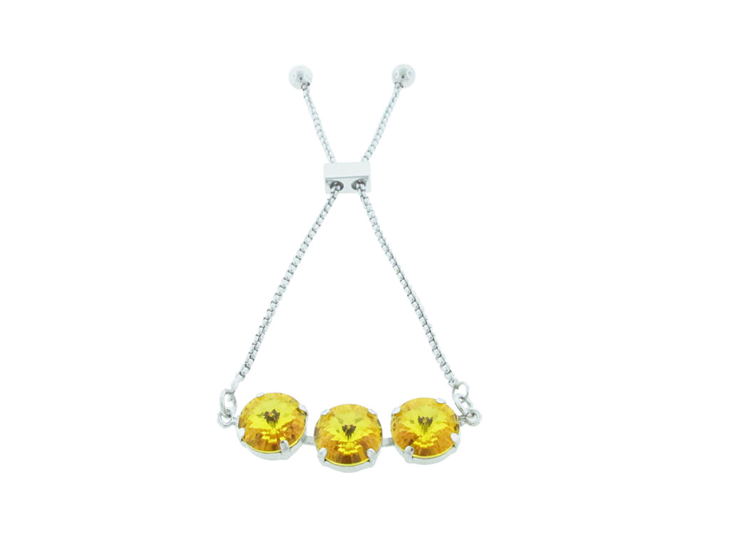 Three Setting Adjustable Slider Bracelet with crystals