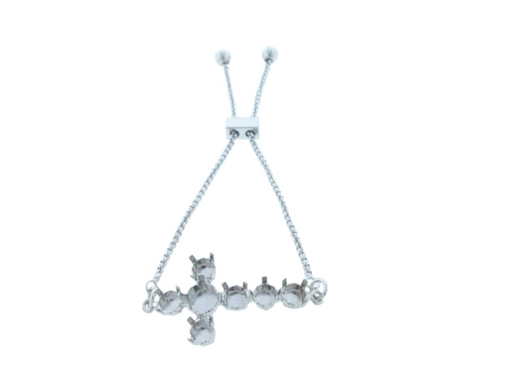 6mm & 8.5mm | Cross Seven Setting Adjustable Slider Bracelet | One Piece