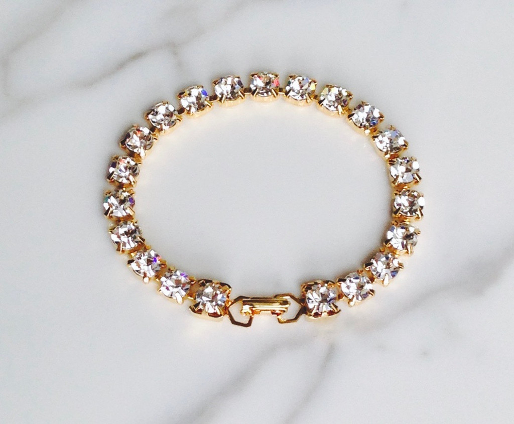 Tennis Bracelet made with Swarovski 6mm Crystal Elements in Gold overlay