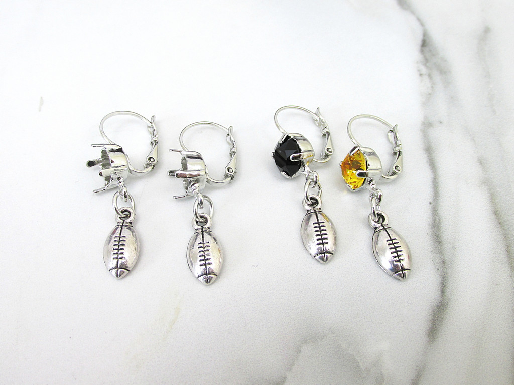 8.5mm | One Setting Drop & Football Charm Earring | One Pair