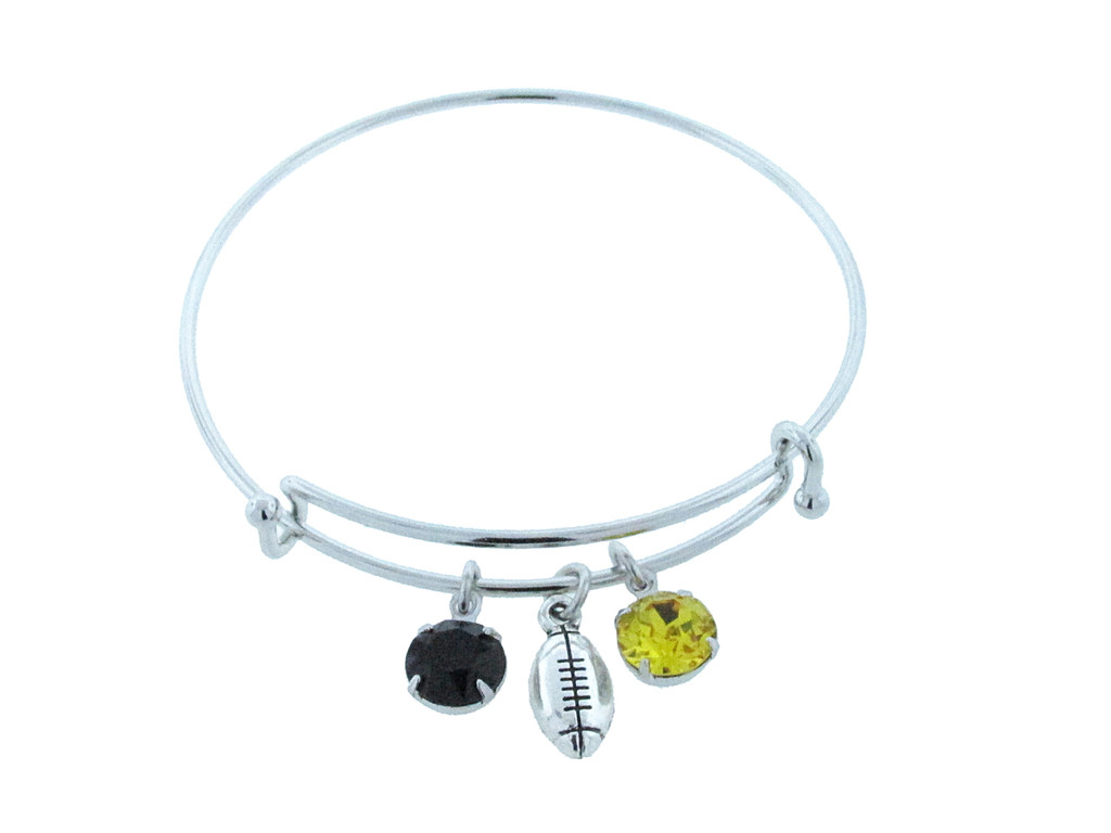 Football Charm With Two 8.5mm (39ss) Empty Settings On An Expandable Bracelet