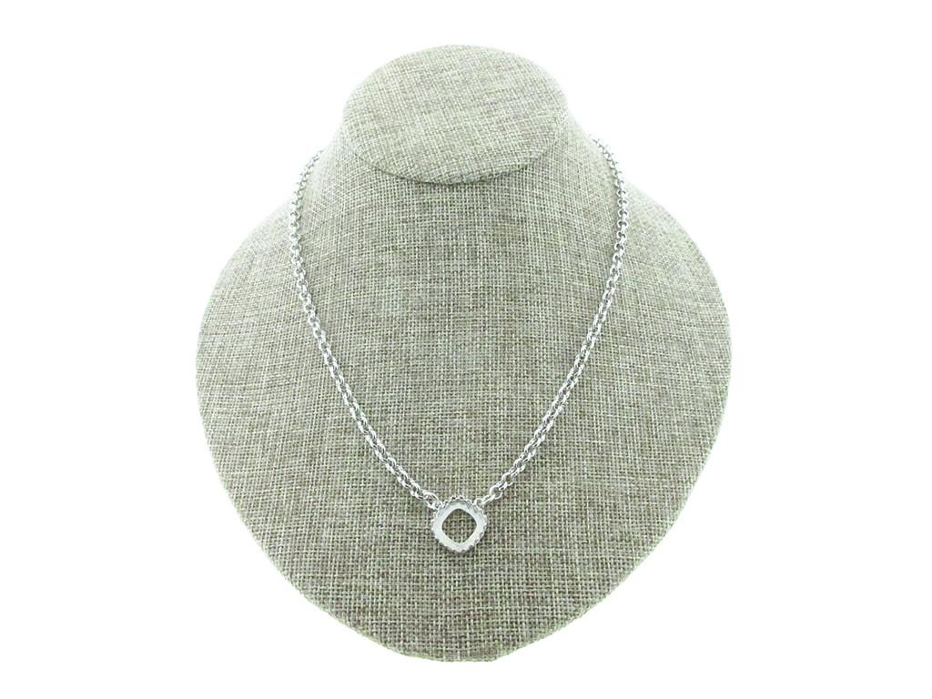12mm Square Cushion Cut Crown Open Back Single Pendant Necklace