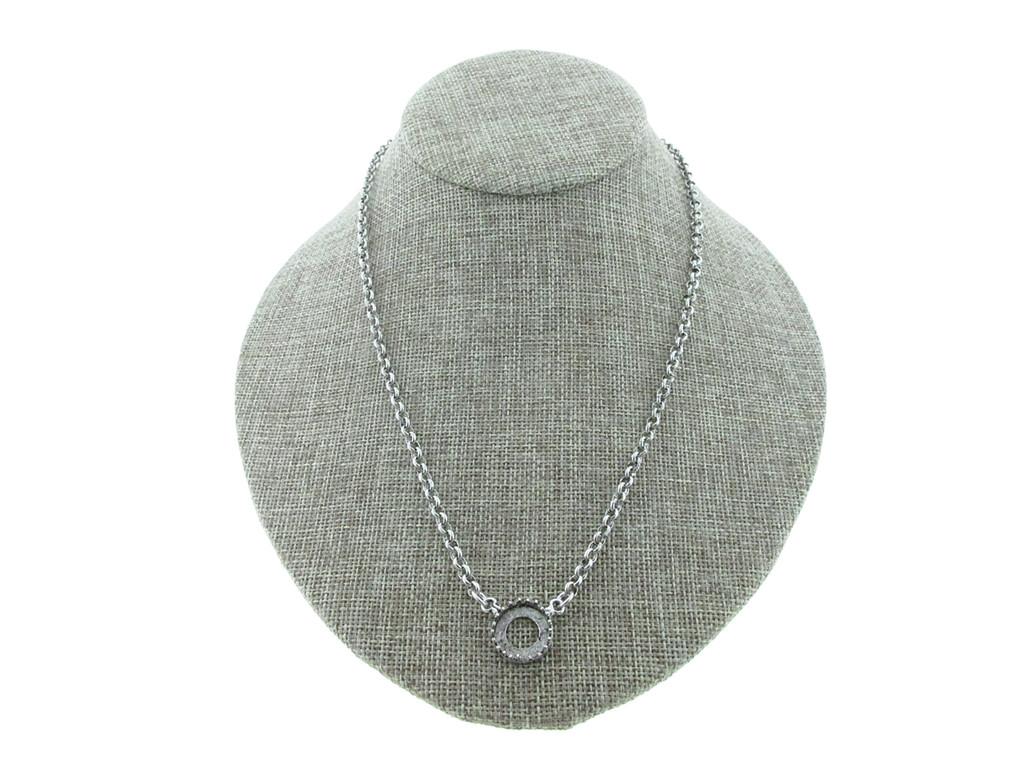 12mm Rivoli Round Crown Open Back Single Pendant Necklace