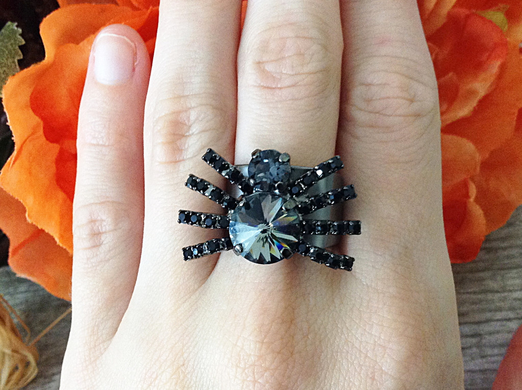 Two Setting Adjustable Spider Ring shown on finger