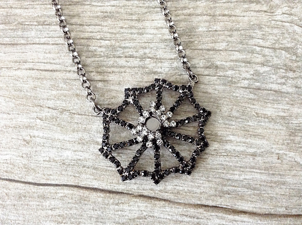 Spider On A Spiderweb Necklace, close up