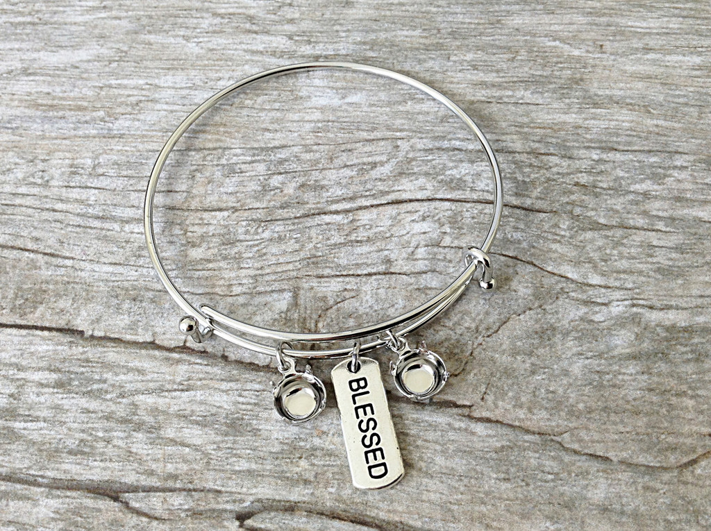 Blessed Charm With Two 8.5mm (39ss) Empty Settings On An Expandable Bracelet