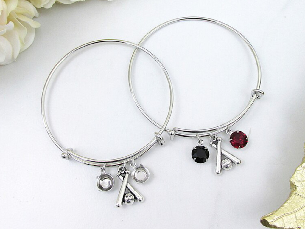 8.5mm | Baseball Charm Bangle Bracelet | One Piece