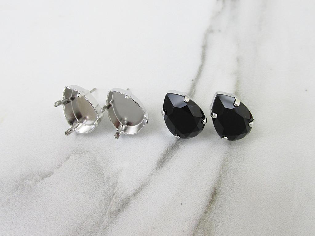 14x10mm Pear Stud Empty Earrings in rhodium