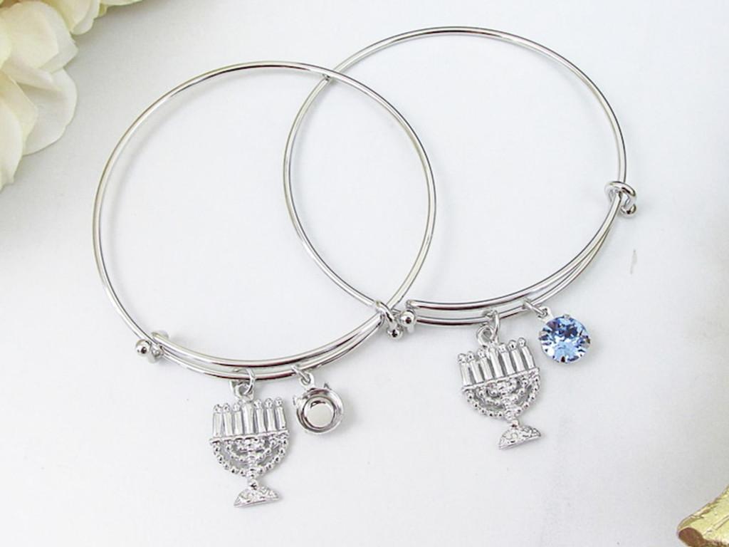 8.5mm | Menorah Charm Bangle Bracelet | One Piece