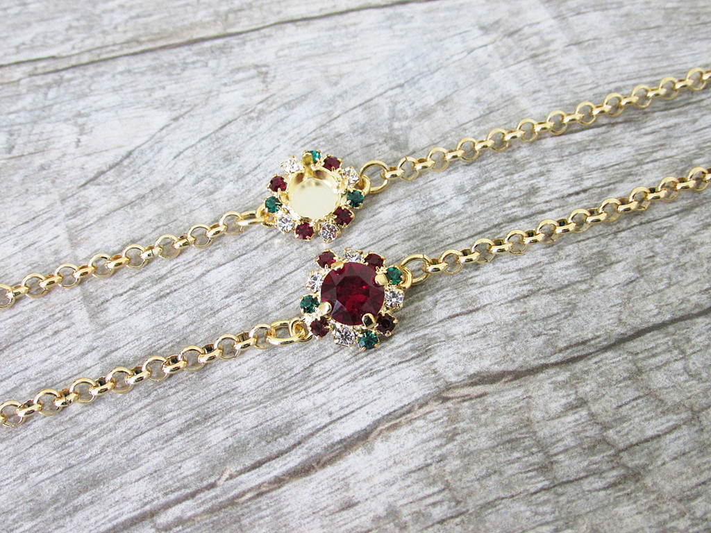 8.5mm | Christmas Crystal Halo Bracelet | One Piece