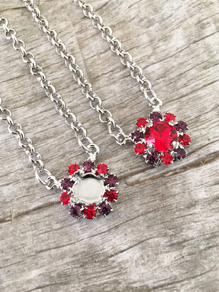 8.5mm | Red & Purple Crystal Halo Necklace | One Piece - Limited Edition