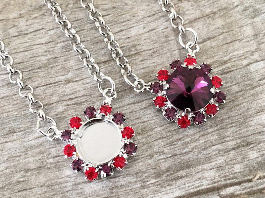 12mm Round | Red & Purple Crystal Halo Necklace | One Piece - Limited Edition