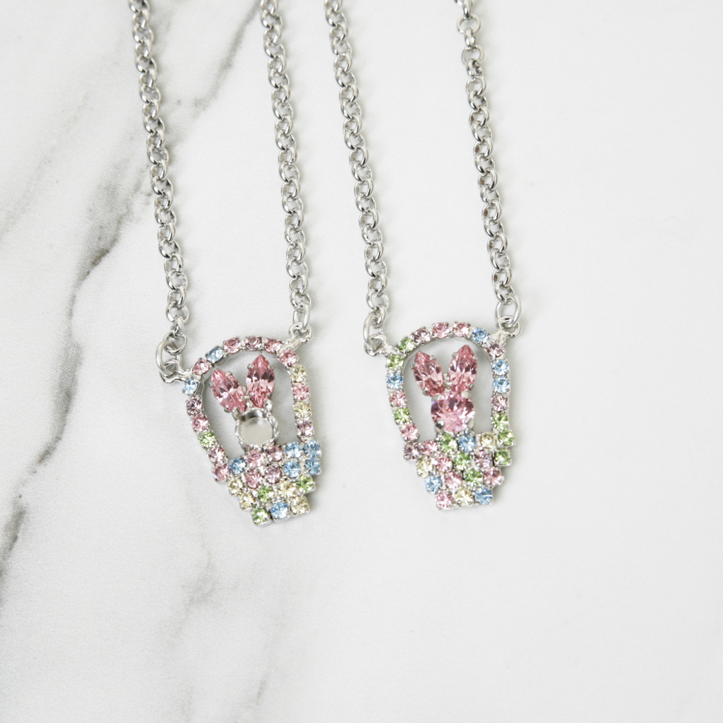 6mm | One Setting Bunny & Easter Basket Rhinestone Necklace | One Piece