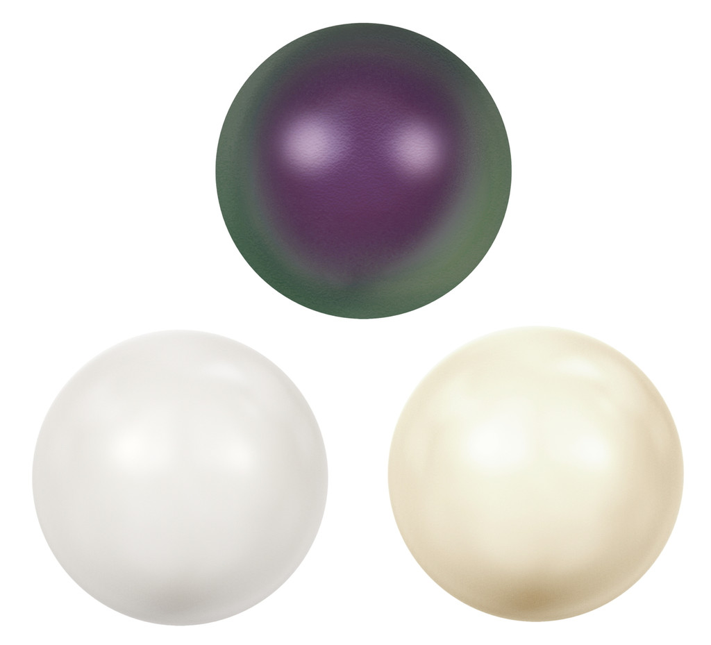 11mm   Glass Faux Pearl Cabochons   12 Pieces