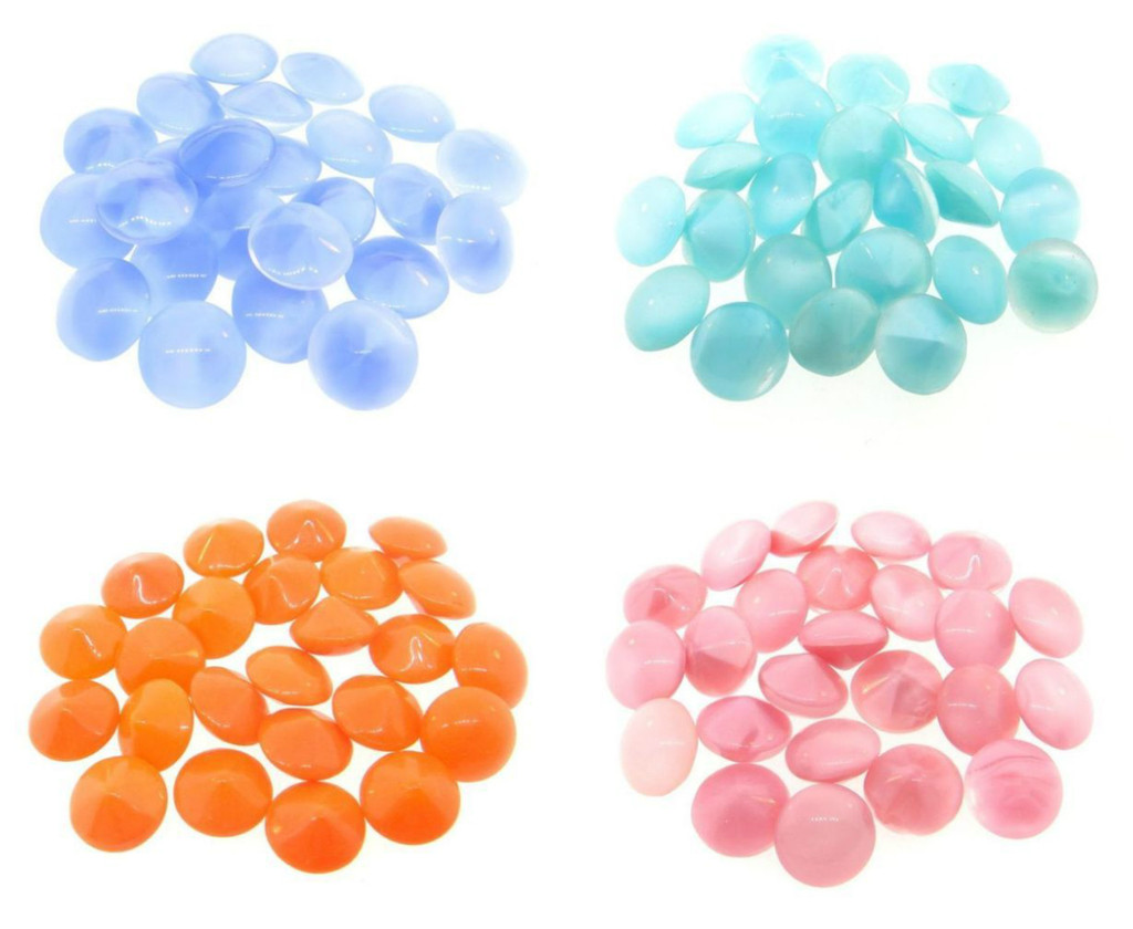 11mm | Vintage Glass Buff Top Chatons | 24 Pieces